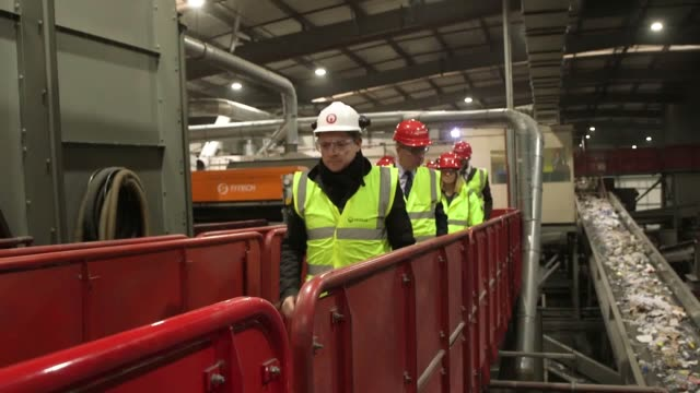 environment secretary michael gove takes part of a tour of a waste management facility in southwark ahead of a new recycling strategy by the... - strategy stock videos & royalty-free footage