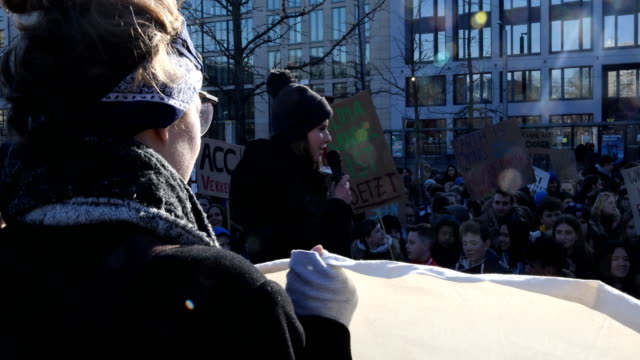 environmental activist luisamarie neubauer during her opening speech to high school students striking high school students march to protest for more... - climate policy stock videos & royalty-free footage
