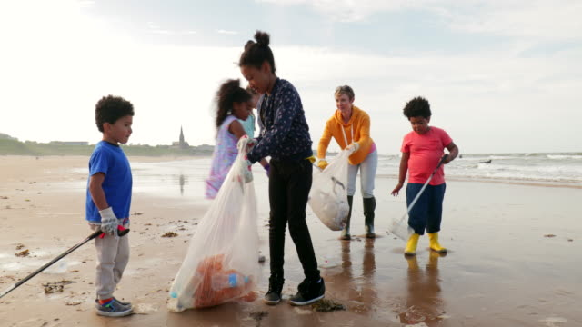 environmental beach cleanup - litorale video stock e b–roll