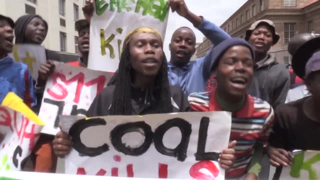 Environmental campaigners march through Johannesburgs city centre to highlight the need for action ahead of the COP21 climate change conference