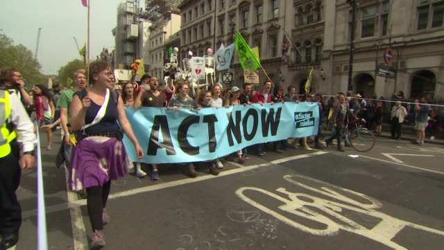 environmental campaigners protesting outside houses of parliament - environment stock videos & royalty-free footage