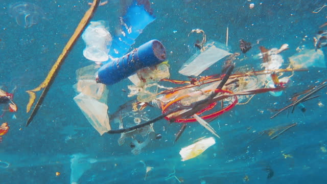 vídeos de stock e filmes b-roll de environmental issue: underwater footage of plastic in the ocean - acidente natural