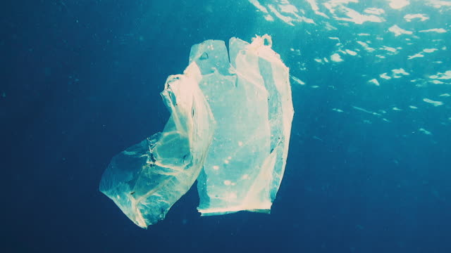 environmental issues single use plastic in the ocean - undersea stock videos & royalty-free footage