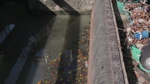 vídeos y material grabado en eventos de stock de contaminación del medio ambiente. botellas de plástico, bolsas, basura en el canal de bangkok, basura y contaminación flotando en el agua. cámara lenta - bolsa de plástico