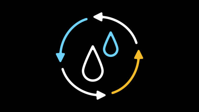 environmental water issues line icon animation with alpha - infographic stock videos & royalty-free footage