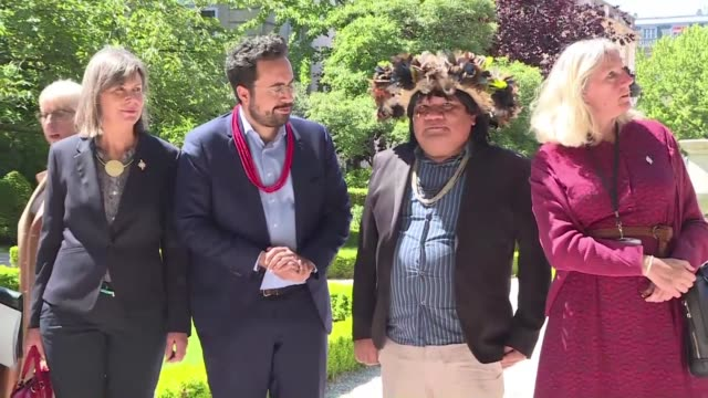 Environmentalist and tribal chief Almir Narayamoga of the Paiter Surui tribe of the Brazilian Amazon visits the National Assembly in Paris with...