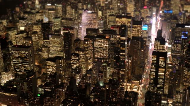 epic establishment shot of new york city skyline at night light