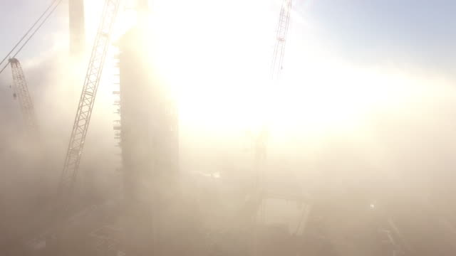 Epic fly though fog reveal power plant, Drone 4K Industry Aerial Video, Power plant coal, natural gas, wind farm, renewable energy, smokestack,