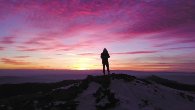 epic mountain sunset - on top of stock videos & royalty-free footage