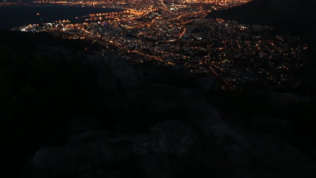 epic mountaintop view of cape town at night 3 - cape town stock videos & royalty-free footage
