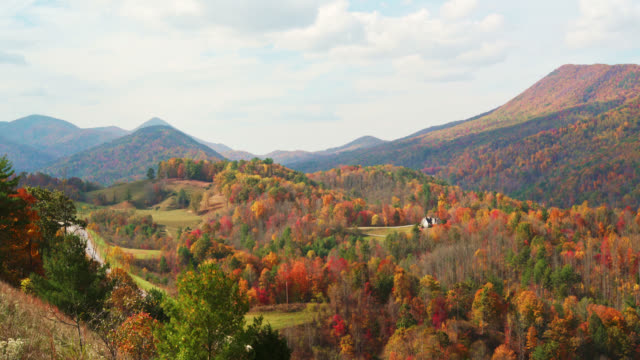 epic scenic view to the colorful autumn mountain's forests from the metcalf overlook, unicoi county, tennessee, usa - appalachian mountains stock videos & royalty-free footage