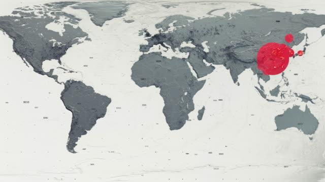 mappa del mondo epidemia di covid-19 - sparse video stock e b–roll