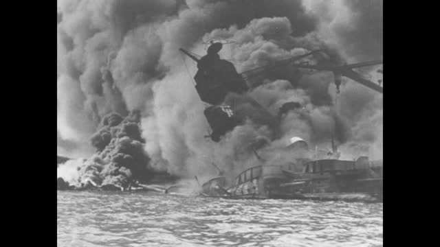 """episode h-02] greatest headlines of the century title sequence / title card: """"pearl harbor attacked"""" with photo of smoke from explosion / [nov 1941,... - vehicle interior stock videos & royalty-free footage"""