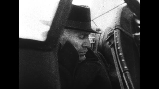 """episode q-02] greatest headlines of the century title sequence / title card: """"mussolini slain"""" / [4/30/1942, berchtesgaden, germany] car approaches... - stepping stock videos & royalty-free footage"""