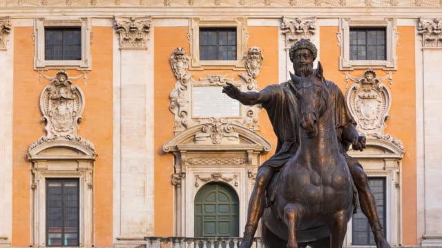 Equestrian statue in Campidoglio square, Rome, Italy, Europe