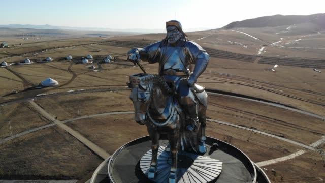 equestrian statue of genghis khan, mongolia - independent mongolia stock videos & royalty-free footage