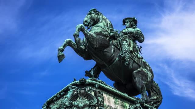 equestrian statue prinz eugen, vienna - the hofburg complex stock videos & royalty-free footage