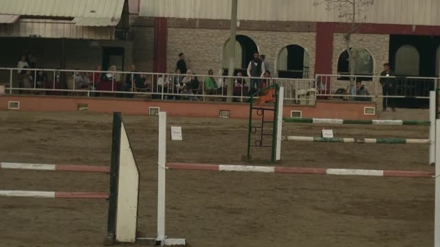 Equestrians perform during the Equestrian Championship organized by Palestinian Equestrian Federation with the participation of a hundred horse...