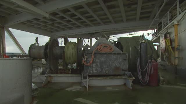equipment on oil tanker deck, australia - stahlfass stock-videos und b-roll-filmmaterial