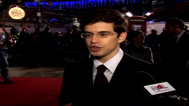 'eragon' film premiere interviews; christopher paolini speaking to press sot - on decision to write books/ on seeing film on big screen for the first... - premiere stock videos & royalty-free footage