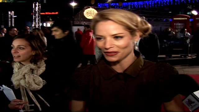 'eragon' film premiere interviews; sienna guillory speaking to press sot - on the cold/ on being star struck by robert carlyle / on appeal of... - robert carlyle stock videos & royalty-free footage