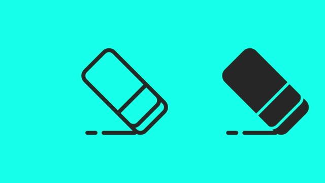 消しゴムのアイコン - ベクトル アニメーション - 消しゴム点の映像素材/bロール
