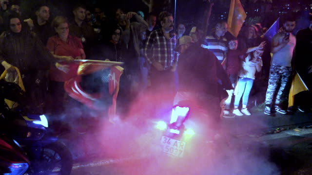 Erdogan's supporters celebrate outside the AK party headquarters on June 24 2018 in Istanbul Turkey Turkey's President Recep Tayyip Erdogan's 16year...