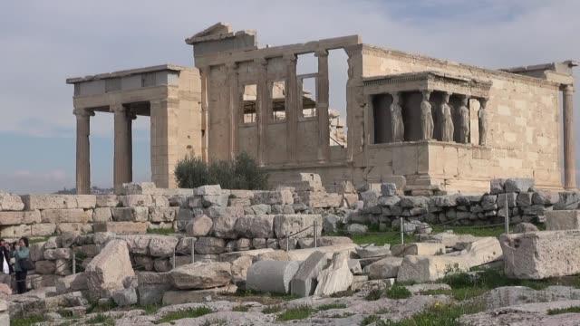 erechtheion on athenian acropolis - architectural column stock videos & royalty-free footage