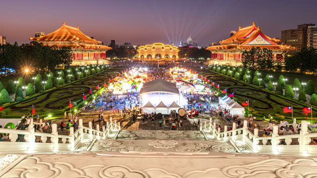 erial shot of  chiang kai shek (cks) memorial hall, taipei, taiwan - chiang kaishek memorial hall stock videos & royalty-free footage