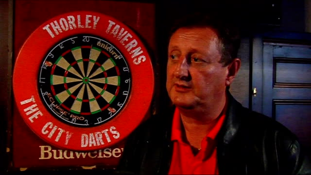 eric bristow interview bristow interview sot talks about temptations available to darts players / difficult to maintain relationships / on how he got... - world sports championship stock videos & royalty-free footage