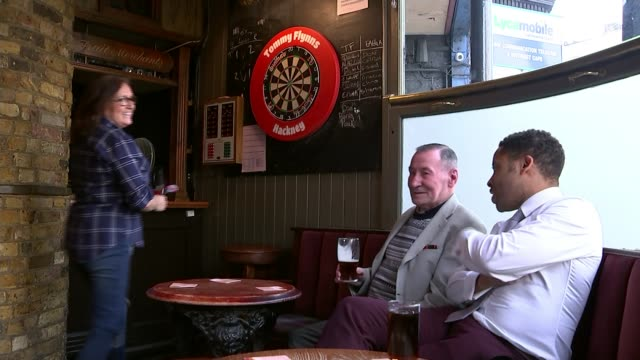 eric bristow 'the crafty cockney' dies aged 60 london hackney int close shot of darts board with darts 'landing' woman playing darts in pub/ peter... - dart stock videos & royalty-free footage