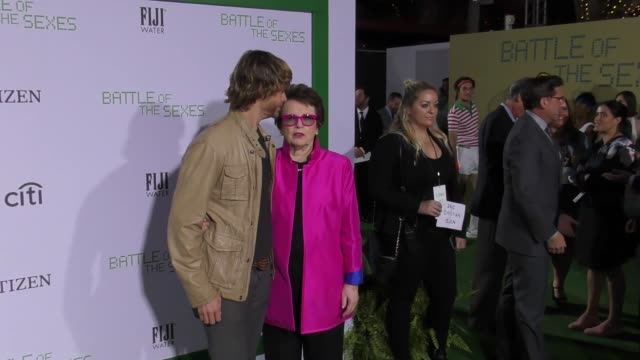 """eric christian olsen and billie jean king at the """"battle of the sexes"""" los angeles premiere presented by fox searchlight at regency village theatre... - billie jean king stock videos & royalty-free footage"""