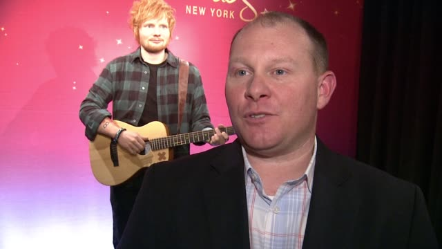 interview eric fluet talks about working with ed sheeran and making the statue at madame tussauds new york launches ed sheeran wax figure at madame... - madame tussauds stock videos & royalty-free footage