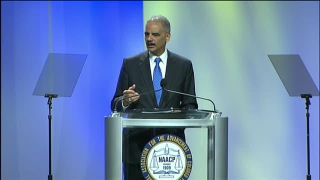 "eric holder describes the adequacy of self-defense laws in contrast to the ""stand your ground"" law during a speech to the naacp. - crime or recreational drug or prison or legal trial stock videos & royalty-free footage"