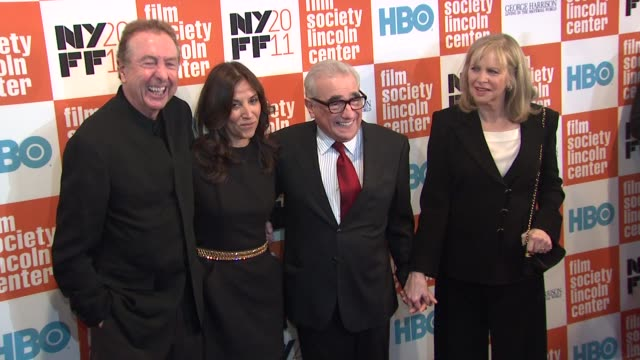 eric idle, olivia harrison, martin scorsese and helen morris at the 49th annual new york film festival - 'george harrison: living in the material... - エリック アイドル点の映像素材/bロール