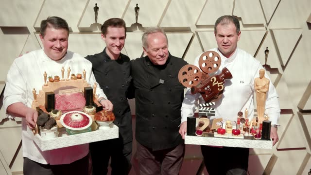 eric klein, byron puck, wolfgang puck and kamel guechida at the 91st academy awards - arrivals at dolby theatre on february 24, 2019 in hollywood,... - wolfgang puck stock videos & royalty-free footage