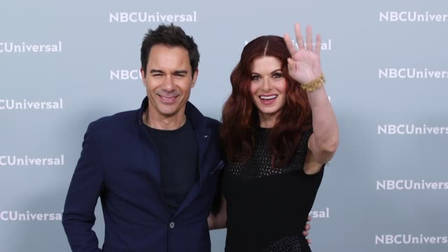 eric mccormack and debra messing at nbcuniversal's upfront presentation 2018 - eric mccormack stock videos & royalty-free footage