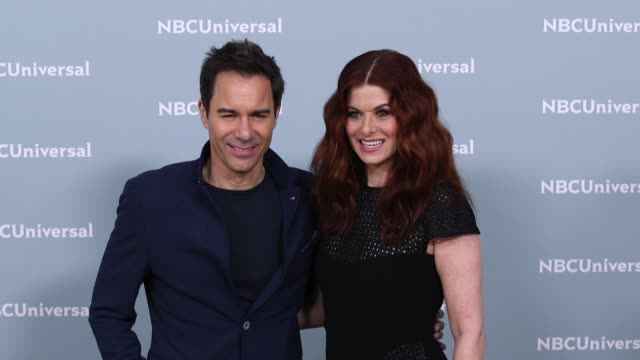 eric mccormack and debra messing at the nbcuniversal's upfront presentation 2018 at radio city music hall on may 14, 2018 in new york city. - eric mccormack stock videos & royalty-free footage