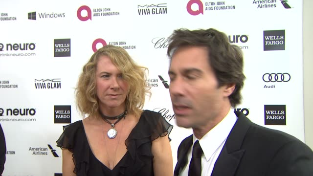 interview eric mccormack janet holden at elton john aids foundation presents 22nd annual academy awards viewing party sponsored by chopard neuro... - janet holden stock videos & royalty-free footage