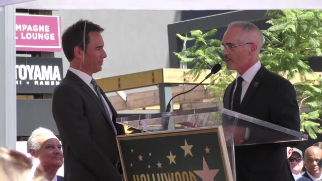 eric mccormack presented with a plaque at his star ceremony on the hollywood walk of fame in hollywood in celebrity sightings in los angeles, - eric mccormack stock videos & royalty-free footage