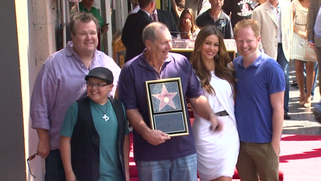 eric stonestreet rico rodriguez ed o'neill sofia vergara and jesse tyler ferguson at the ed o'neill honored with star on the hollywood walk of fame... - jesse tyler ferguson stock videos and b-roll footage