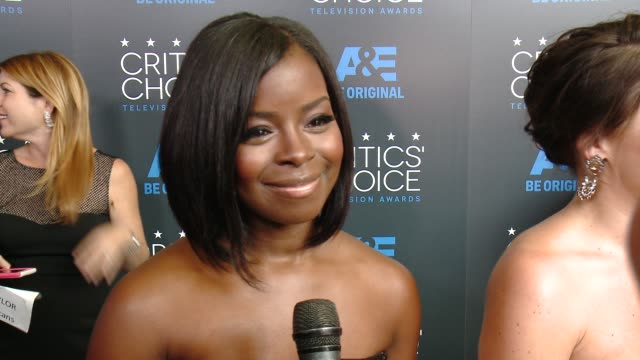 """erica tazel on being at the event, and on her series """"justified"""" at the 2015 critics' choice television awards at the beverly hilton hotel on may 31,... - 放送テレビ批評家協会賞点の映像素材/bロール"""