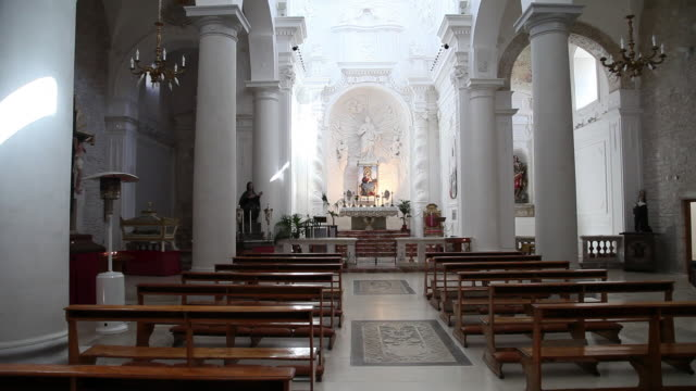erice, san martino church, view of the nave  - altar stock videos & royalty-free footage