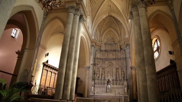 erice, the royal church, main altar, altarpiece by giuliano mancino - christianity stock videos & royalty-free footage