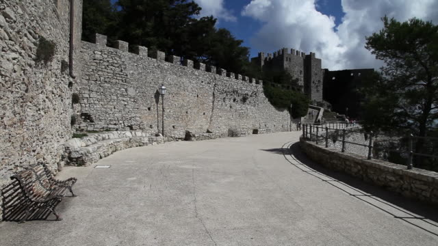 erice, view of the castle of venus - castle wall stock videos and b-roll footage