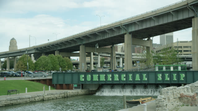erie canal commercial slip - buffalo, new york usa - buffalo new york state stock videos & royalty-free footage