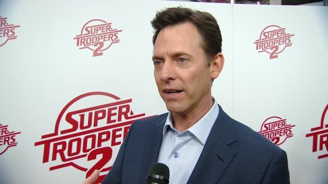 "interview erik stolhanske on the movie plot and event at ""super troopers 2"" los angeles premiere presented by fox searchlight pictures in los angeles... - super troopers 2 stock videos & royalty-free footage"