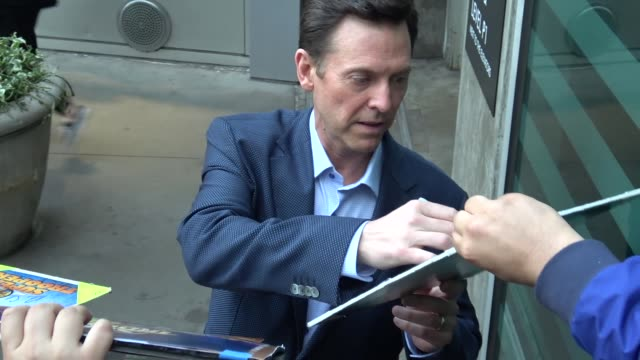 erik stolhanske signs for fans at the super troopers 2 premiere at arclight cinemas in hollywood in celebrity sightings in los angeles - super troopers 2 stock videos & royalty-free footage