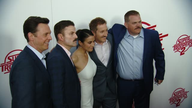 "erik stolhanske steve lemme emmanuelle chriqui paul soter kevin heffernan at ""super troopers 2"" los angeles premiere presented by fox searchlight... - super troopers 2 stock videos & royalty-free footage"