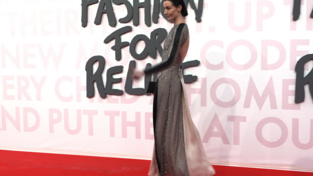 erin o'connor at fashion for relief fashion catwalk - the 71st cannes fillm festival at aeroport cannes mandelieu on may 13, 2018 in cannes, france. - カンヌ・マンデリュー空港点の映像素材/bロール